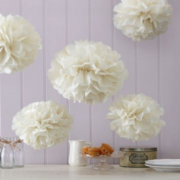 Ivory Tissue Paper Pom Poms - pack of 5